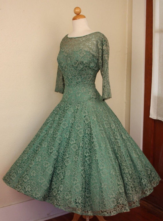 1950s vintage dress green lace full cocktail cockt