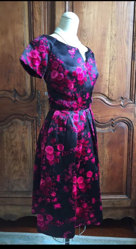 terciopelo de rosas de Dior Vintage fiesta vestido 1950 Dior