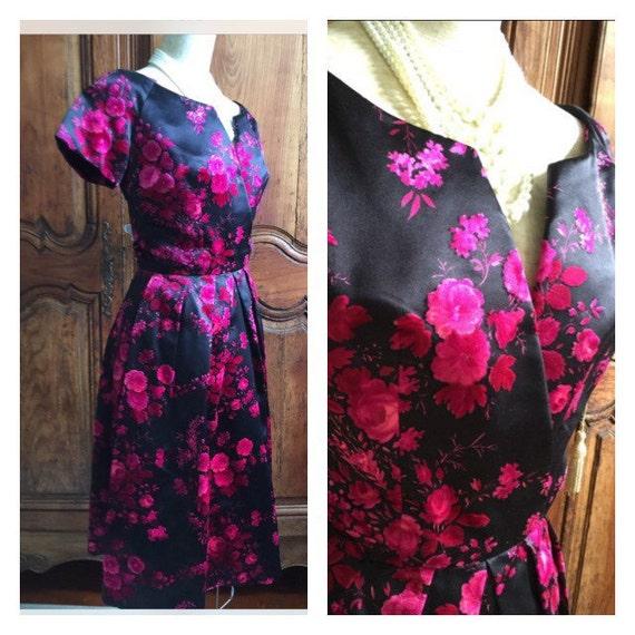 1950s Roses Vintage Dior Party Dress 1950s Dior We