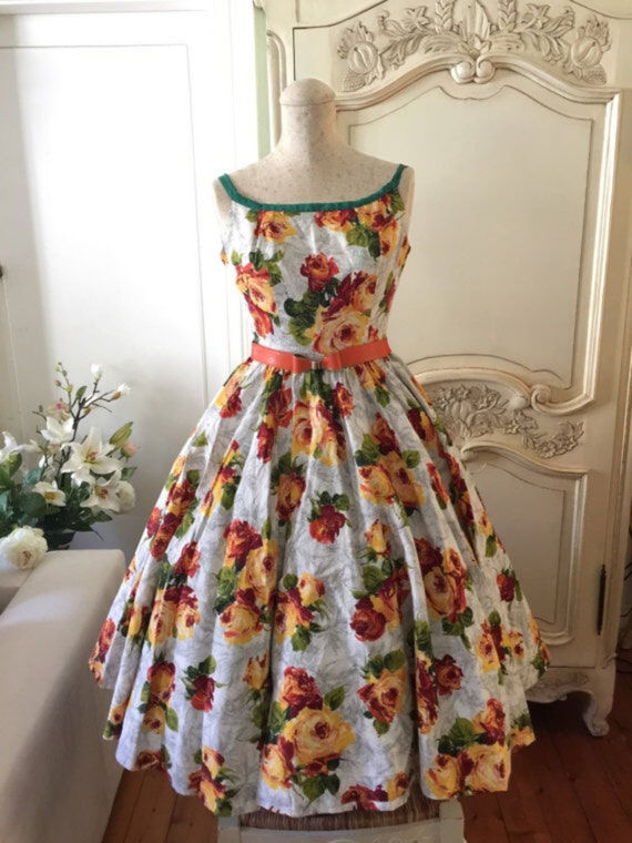 1950s vintage dress floral sundress orange madmen