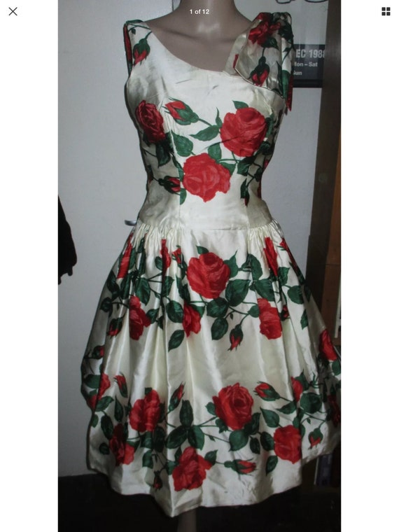1950's origInal vintage dress Melbray rose