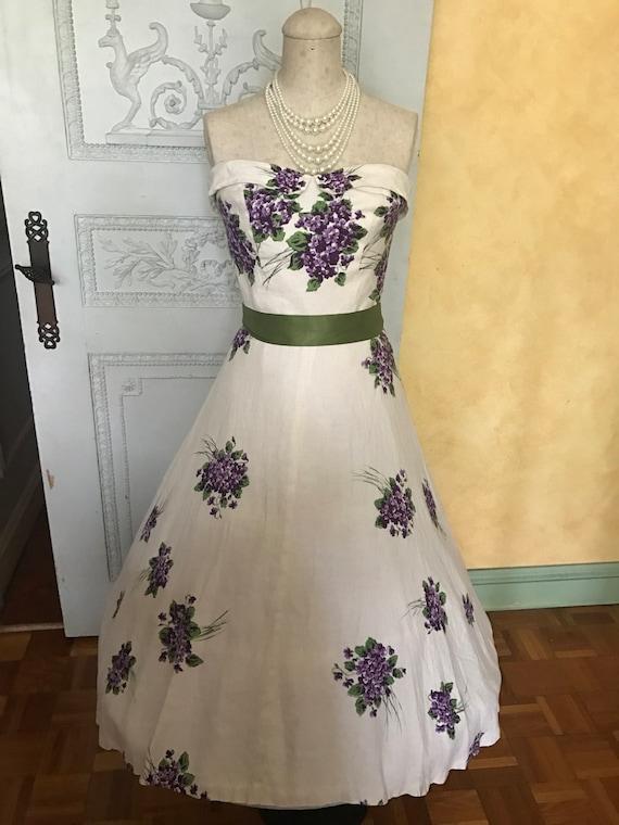 1950s Wedding Dress Vintage Spring Day Dress Tea … - image 2