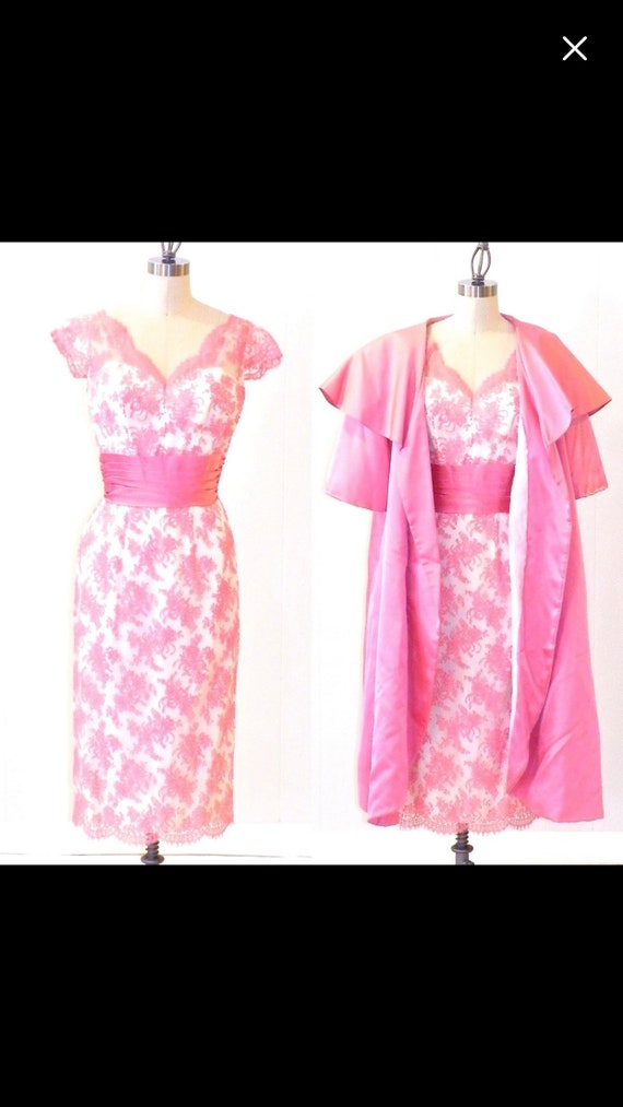 1950s rare pink floral dress and coat