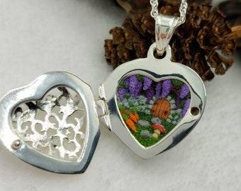 Secret Garden Locket - Fae Miniature - Tiny Door - Mori Girl - 925 silver