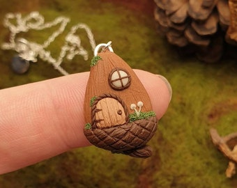 Acorn Fairy House - Cute - Whimsical - Woodland Jewellery - Sterling Silver