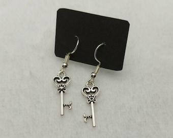Key Charm Earrings - Sweet - Whimsical -