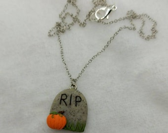 Gravestone necklace - Spoopy - Pumpkin - Halloween Polymer Clay