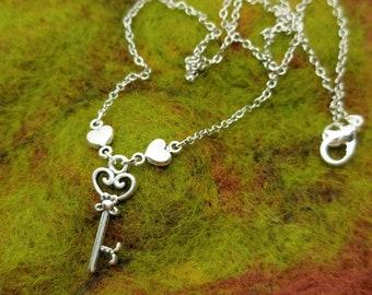 Key Heart Charm Necklace - Sweet - Dainty