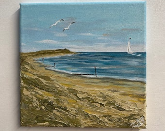 Beautiful sunset Hengistbury Head beach Bournemouth Canvas X1316