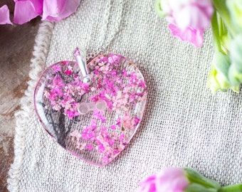 Cherry Blossom Necklace - Real Flower Necklace , Sakura , Gifts for Her , Botanical Jewelry , Pressed Flower Necklace , Pink Flower Necklace