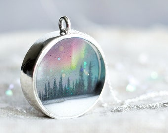 Northern Lights Necklace - Aurora Borealis , Rainbow , Woodland , Nature Jewelry , Aurora Jewellery , Northern Lights