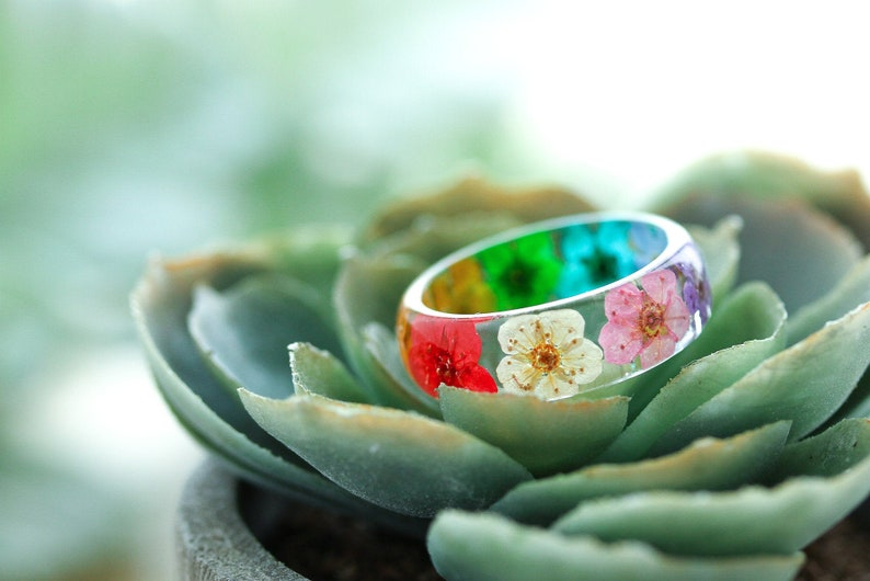 Real Flower Ring  Rainbow Blossom  Pressed Flower Jewelry  image 0
