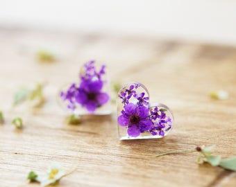 Real Flower Earrings - Purple Hearts - Sterling Silver - Botanical Jewellery , Pressed Flowers , Nature Jewellery , Resin Earrings