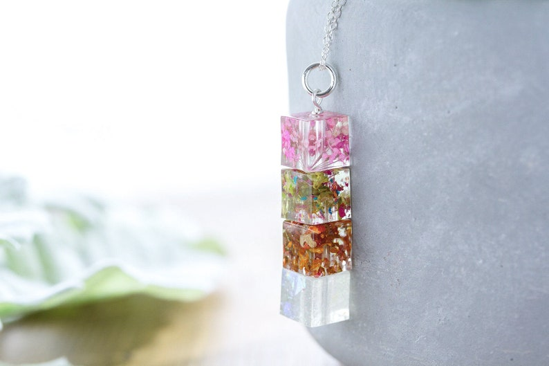 Four Seasons Cube Necklace  Real Flower Necklace  Botanical image 0