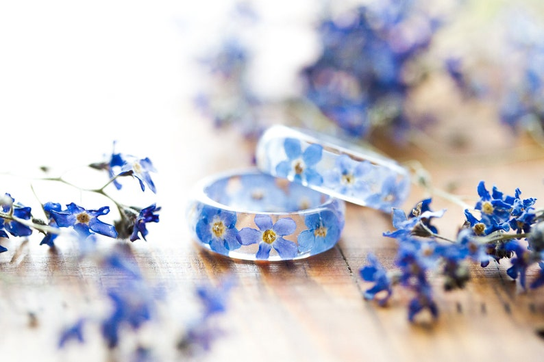 Real Flower Ring  Forget me Nots Botanical Jewellery  image 0