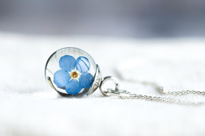Tiny Forget Me Not Necklace  Pressed Flowers Globe  Gifts image 0