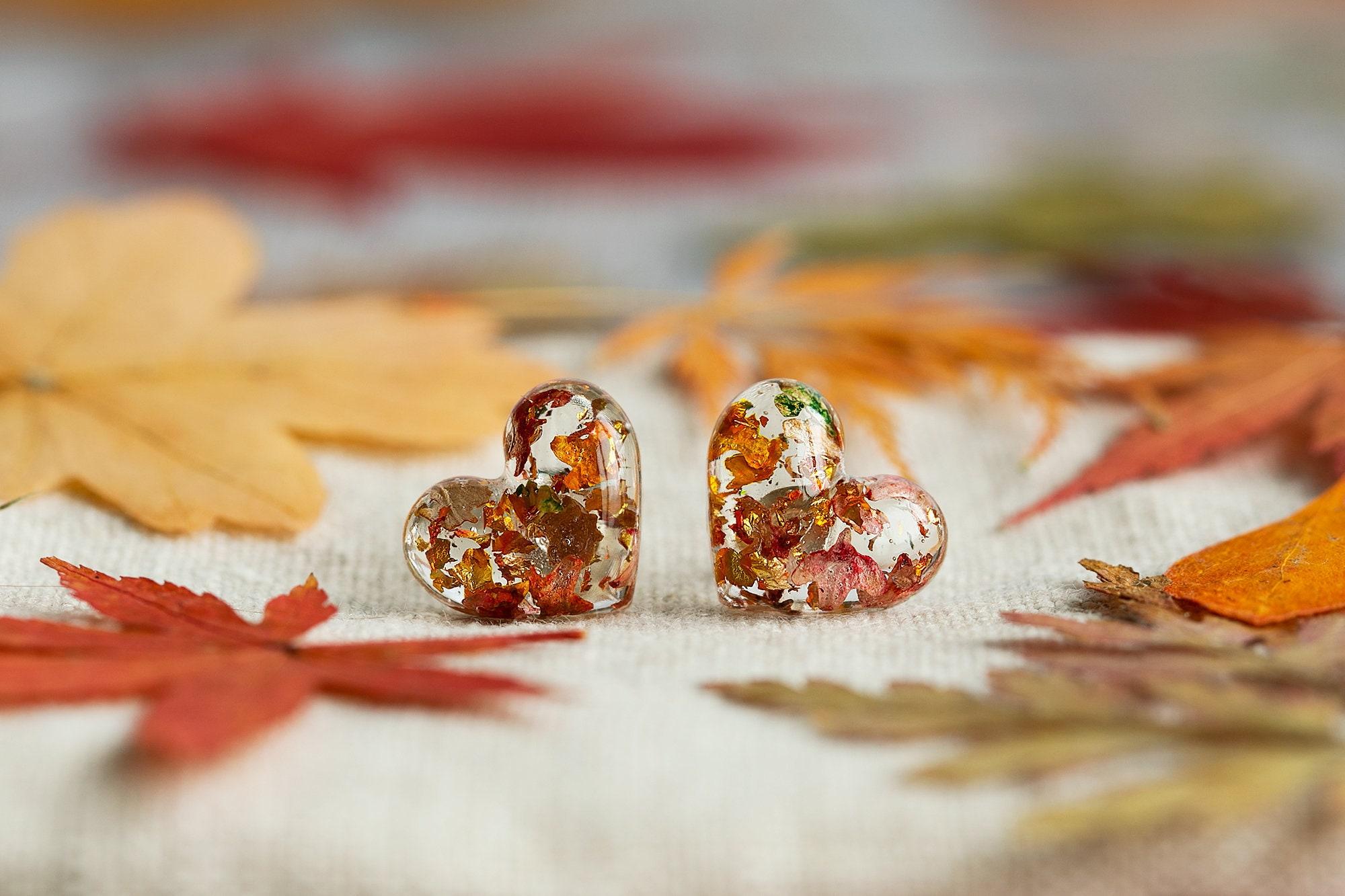 Autumn Earrings Four Seasons Earring Studs Pressed