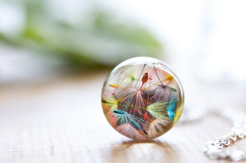 Rainbow Dandelion Wish Necklace  Dandelion Jewelry  Rainbow image 0