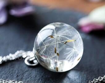 Dandelion Necklace - Dandelion Orb , Dandelion Seed Necklace , Dandelion Necklace , Resin Necklace , Dandelion Jewelry , Resin