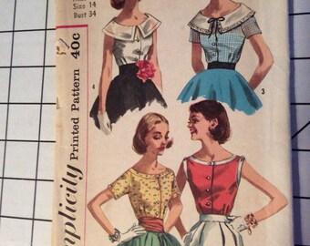 38799c4b610247 Vintage,Button Front,Blouse Pattern,Size 14,Simplicity 2062,CUT,Collar,Sleeve  Variations, Simplicity Pattern,Fitted,scoop neck