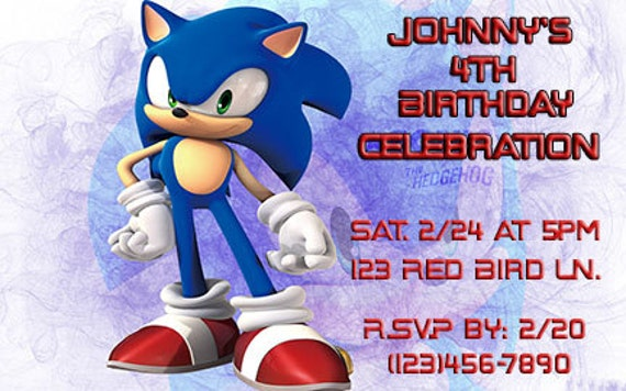 Sonic The Hedgehog Printable Birthday Invitation Etsy