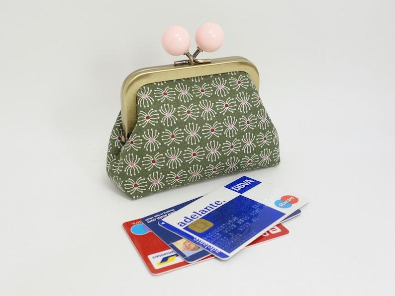 Little kisslock purse with big bobbles small multipurpose storage Kaki and light pink