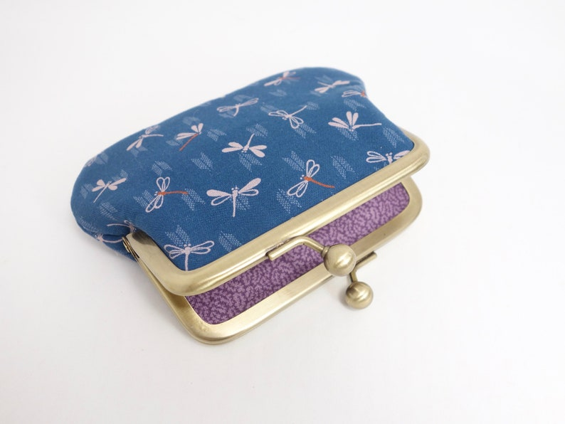Dragonfly japanes fabric kisslock change purse with 2 sections metal frame coin purse