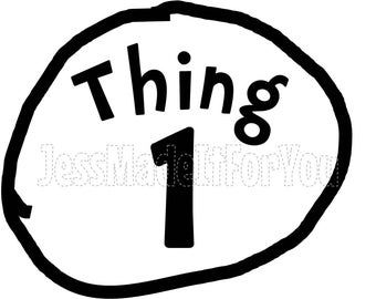 image relating to Printable Thing 1 Logo named Detail 1 detail 2 iron upon Etsy
