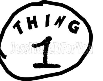 image relating to Thing 1 and Thing 2 Printable Clip Art named Iron upon go issue 1 2 Etsy