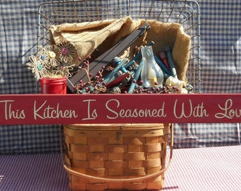 """This Kitchen Is Seasoned With Love wood sign 3.5"""" x 30"""" choice of color"""