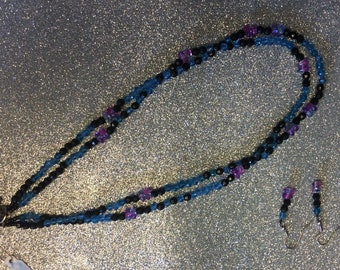 """17"""" blue, magenta and black 2 strand necklace with earrings."""