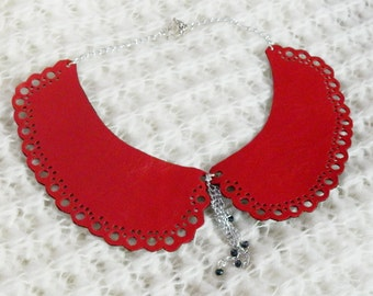 Peter Pan two sided leather detachable collar necklace