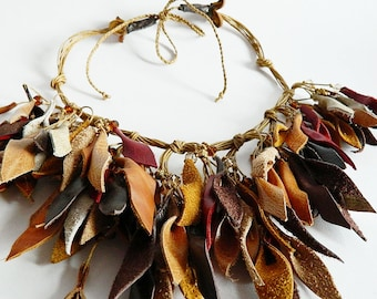 Autumn leaves leather necklace with glass beads. Statement necklace.