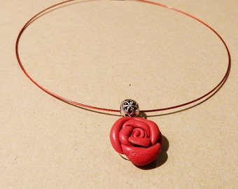 Red rose leather pendant with metal elements for woman
