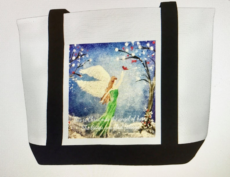 Canvas Tote Bag with The Angel of Hope Original Artwork