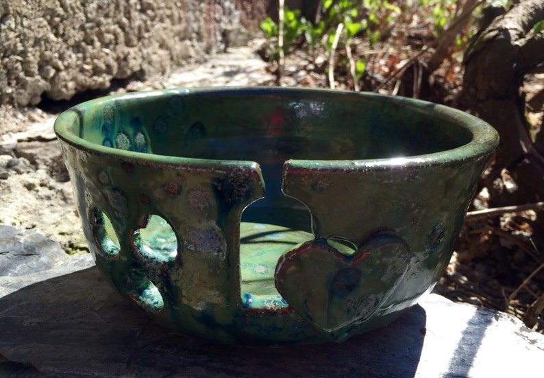 Mother/'s Day All Occasion Gift Birthday Christmas READY TO SHIP with Yarn Bowl Large Shades of Green Free Book with Order