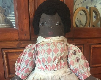 African American Folk Art Primitive Rag Doll ~ Hand Painted Face, Curly Hair and Original Clothing