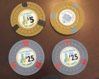 Las Vegas Casino Chips, El Rancho Vegas Hotel, Authentic Vintage SET of FIVE (5) CHIPS