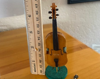 Vintage Miniature Cello and  Bow, Case for Bow, and Stand made of Wood and Green Velvet Brace