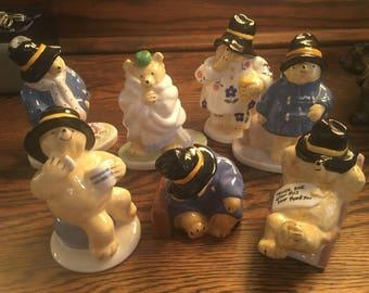 Paddington The Bear Ceramic Figurines ~ Vintage, SET of SEVEN 7, Mint, Bone China, Collector's Item, Limited Edition