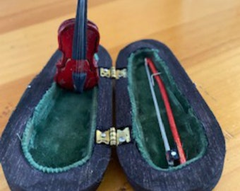 Vintage Miniature Red Violin and Bow, in Wood Case with Green Velvet Lining