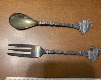 Antique and RARE W. Haas Heerlen N.V. Silver Fork and Spoon SET. Limited edition with leaping hare. Netherlands
