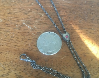 Antique Vintage Metal Necklace Bolo Style, Pendant Charm with Pink Stone Heart and Secure Clasp, Pewter Metal