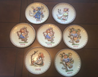 Hummel Plate Collection, Commemorative Annual SET of Seven (7) ~ Original Boxes and/or Plate Holders