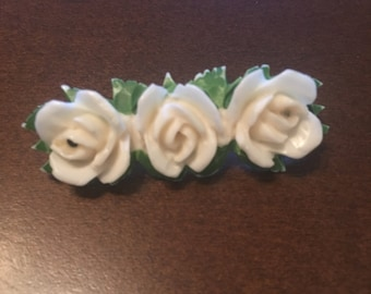 Antique Vintage Celluloid Bakelite Rose Pin ~ Three (3) White Roses with Green Floral Stems ~ Hand Painted