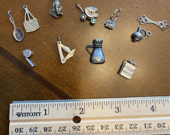 Antique Vintage Silver Charms, Pendants Wacky Variety Collection of Eleven (11)