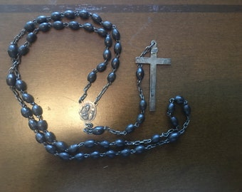 Antique Vintage Sterling Silver Rosary with INRI Crucifix, Art Deco, Black Beads, Jesus and Mary Medalion