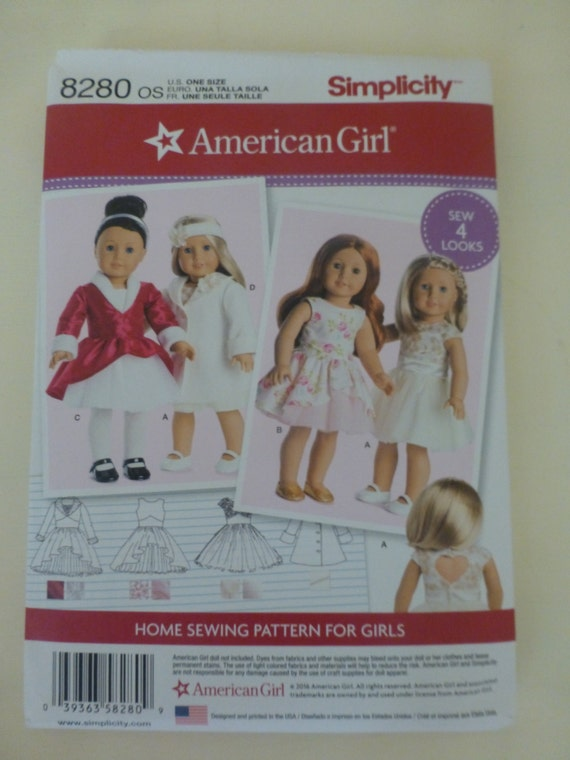 Simplicity 8280 American Girl 18 Doll Clothes Pattern Etsy