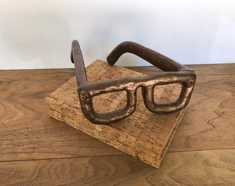 Copper Home Decor   Hipster Art   Heavy Cast Iron Glasses Paperweight   Mid  Century Modern Style Bookworm Eyeglasses Sculpture