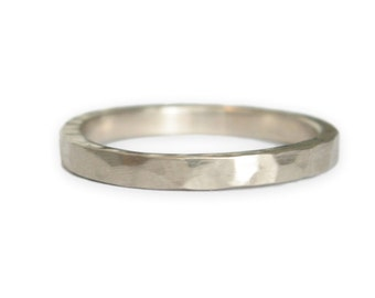 White Gold Wedding Ring //  Hammered 14k Gold Ring // Gold Wedding Band // thin gold ring  // Eco Friendly Recycled Gold // women men unisex
